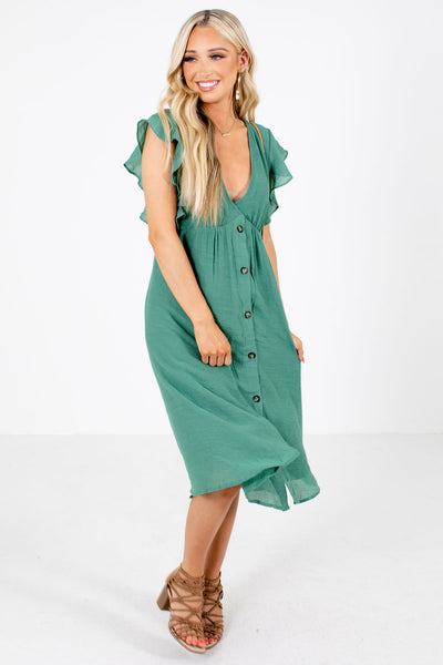 Green Cute and Comfortable Boutique Midi Dresses for Women