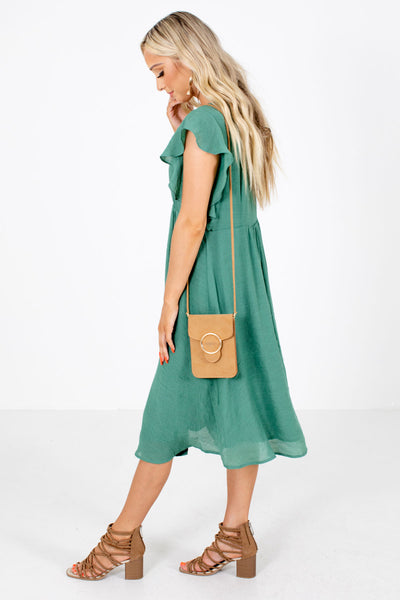Green Fully Lined Boutique Midi Dresses for Women