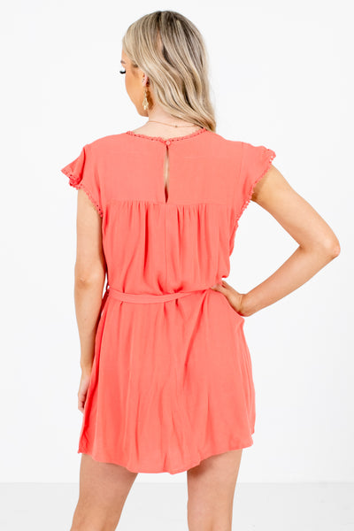 Women's Coral Pink Waist Tie Detailed Boutique Mini Dress