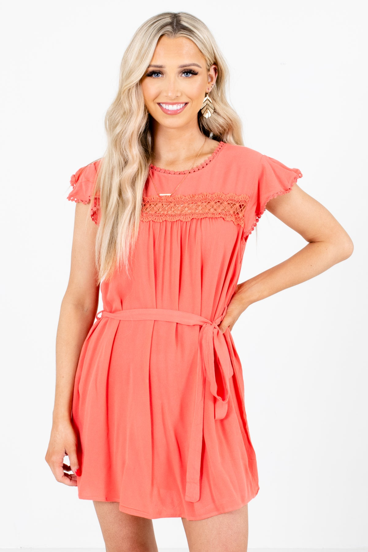 Coral Pink Crochet Lace Accented Boutique Mini Dresses for Women