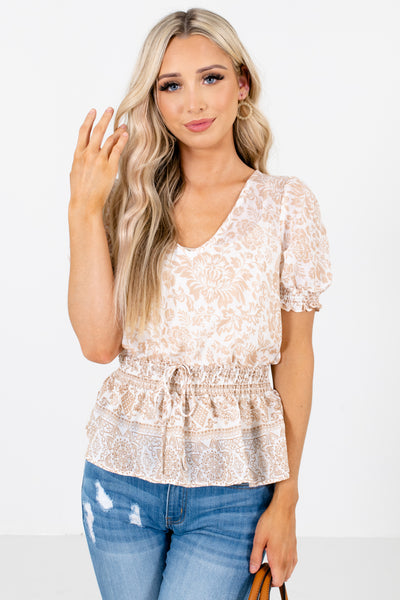 Brown Smocked Waistline Boutique Blouses for Women
