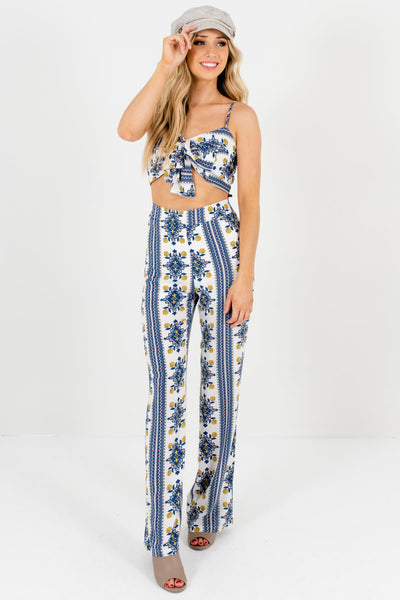 White Patterned Cute and Comfortable Boutique Jumpsuits for Women