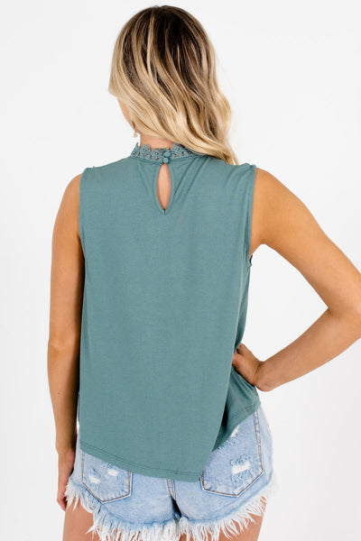 Teal Green Cutout Lace Tank Tops Affordable Online Boutique