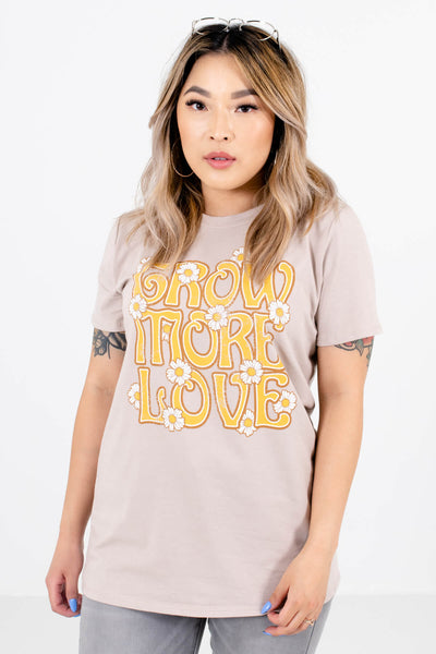 Taupe Brown Cute and Comfortable Boutique Tees for Women