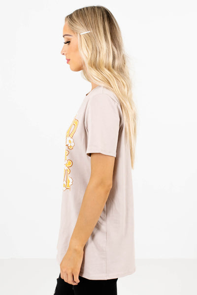 Taupe Brown White Floral Graphic Boutique Tees for Women