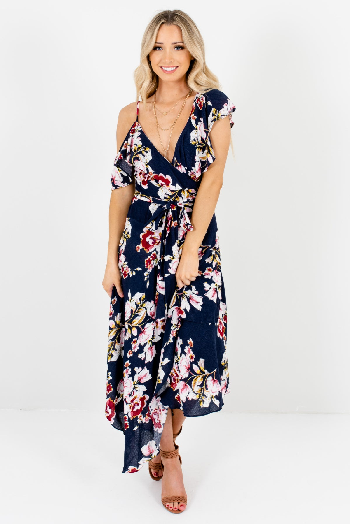 Navy Blue Multicolored Floral Patterned Boutique Midi Dresses for Women