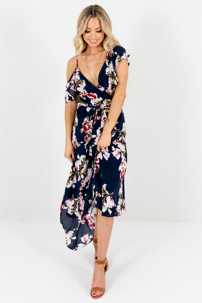 Navy Blue Floral Cute and Comfortable Boutique Midi Dresses for Women
