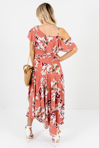 Women's Pink One Cold Shoulder Style Boutique Midi Dress