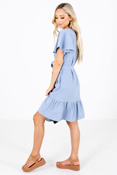 Women's Blue Boutique Dress with Pockets