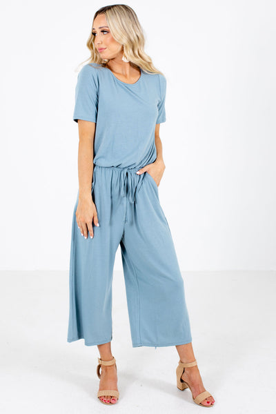 Women's Blue Cropped Length Boutique Jumpsuit