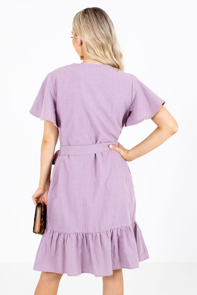 Women's Purple Waist Tie Detailed Boutique Knee-Length Dress