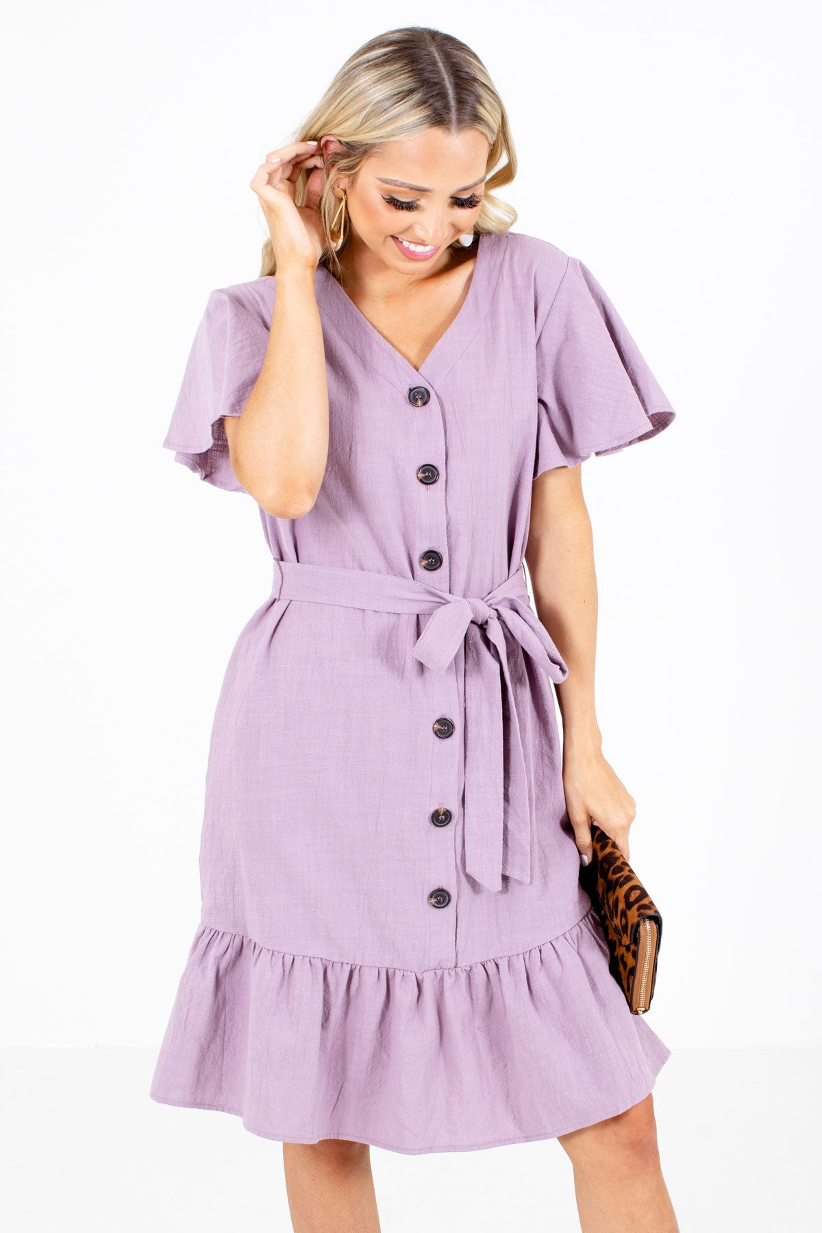 Purple Button-Up Front Boutique Knee-Length Dresses for Women