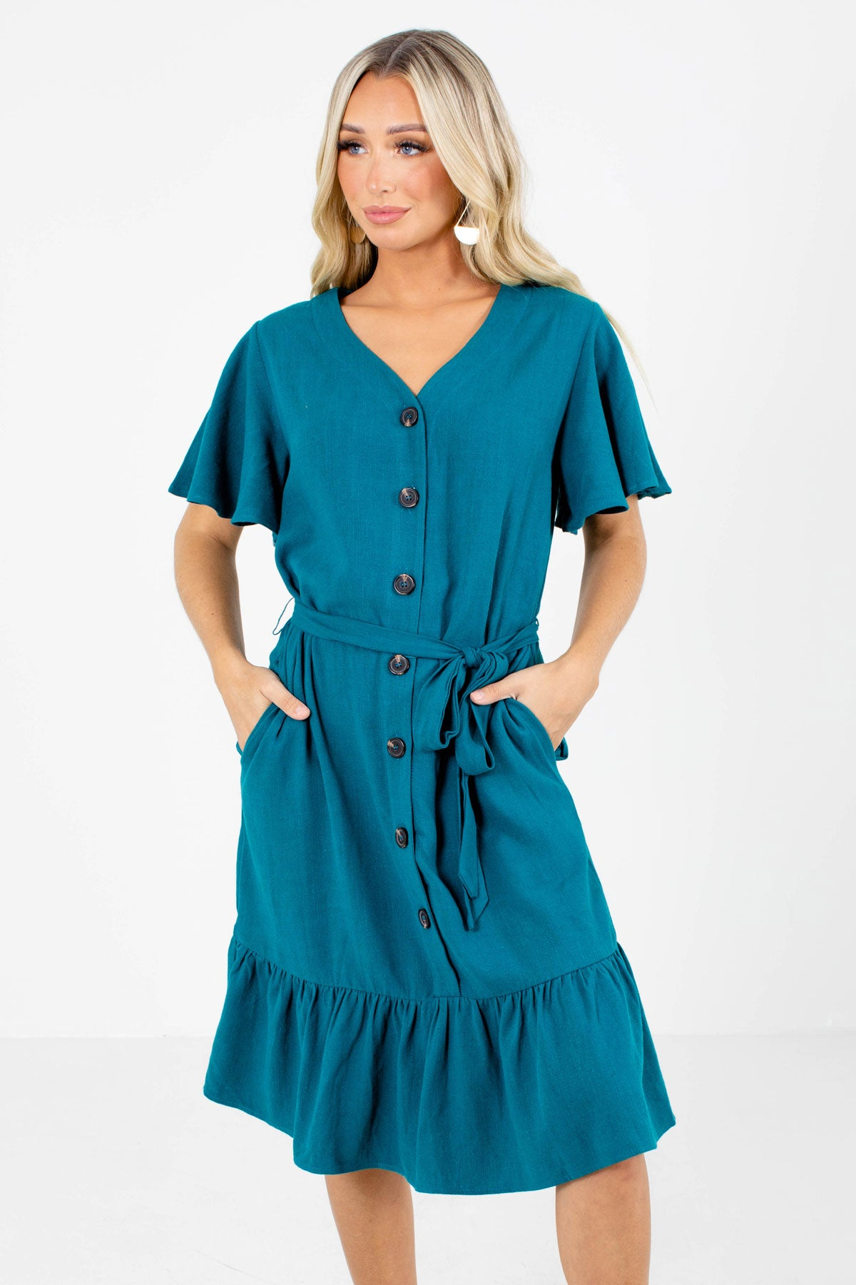 Button Front and Tie Waist Dress
