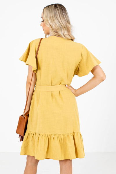 Women's Yellow Ruffled Hem Boutique Knee-Length Dress