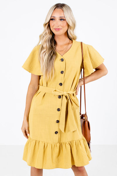 Yellow Cute and Comfortable Boutique Knee-Length Dresses for Women