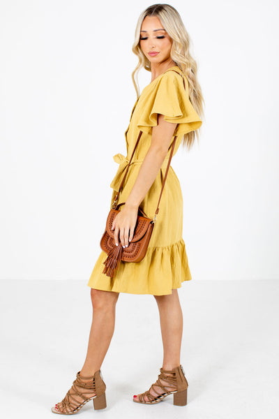 Yellow Casual Everyday Boutique Knee-Length Dresses