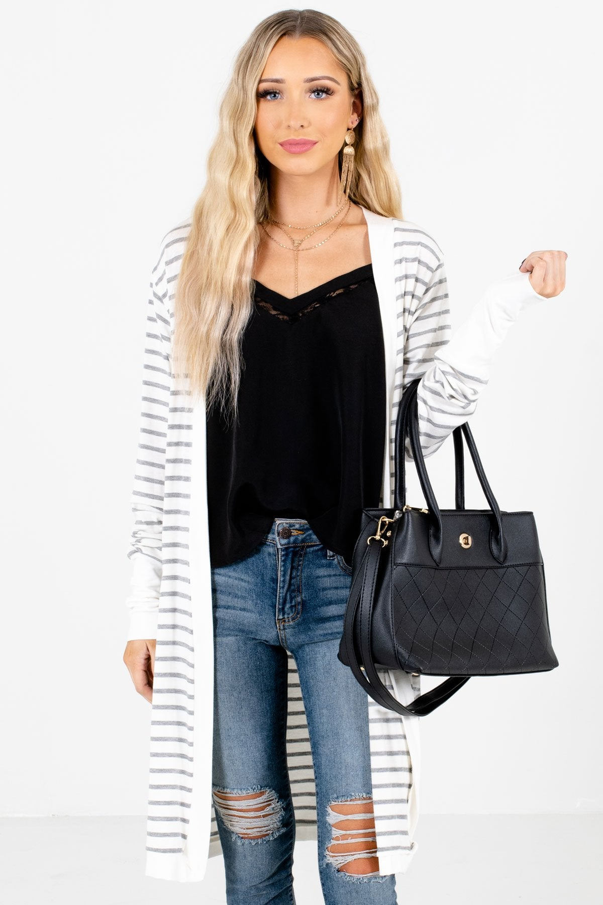 White and Gray Striped Boutique Cardigans for Women