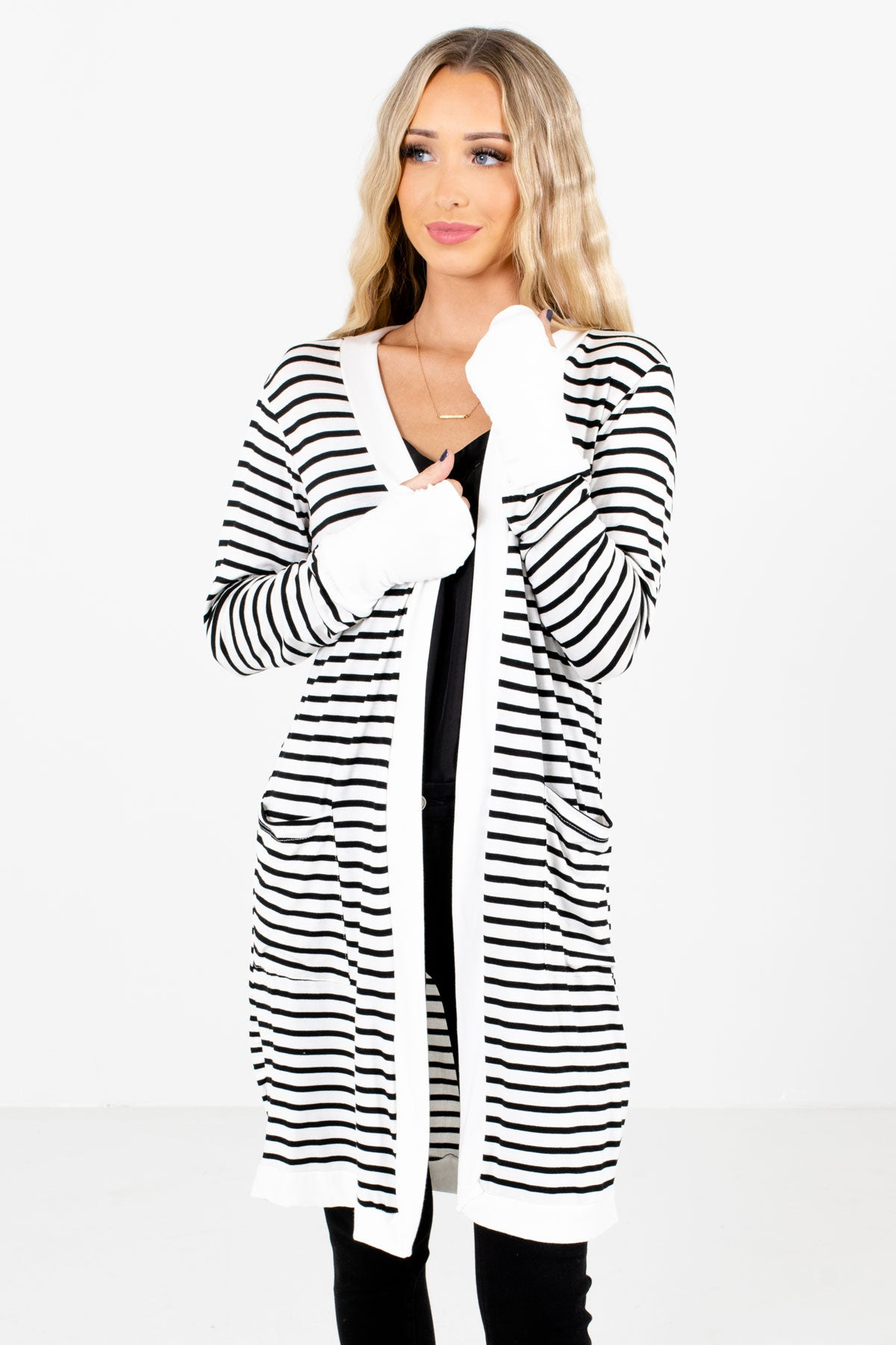 White and Black Striped Boutique Cardigans for Women