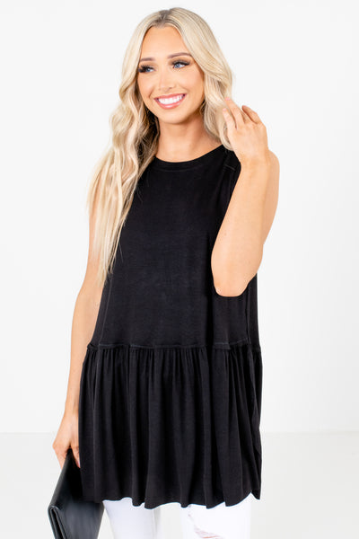 Black Stretchy Material Boutique Tops for Women