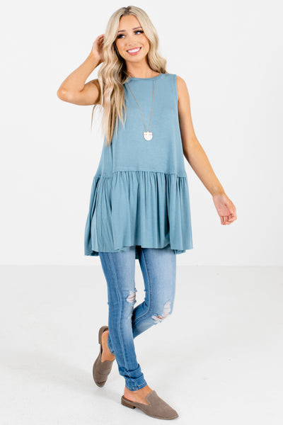 Women's Blue Relaxed Fit Boutique Tank Tops