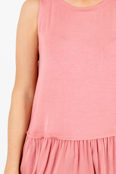 Women's Pink Pleated Accented Boutique Tops