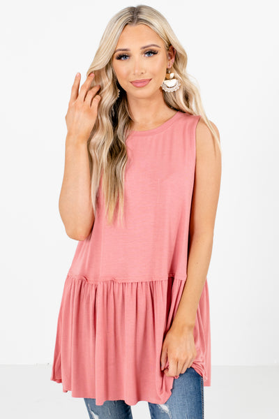 Pink Lightweight Material Boutique Tops for Women
