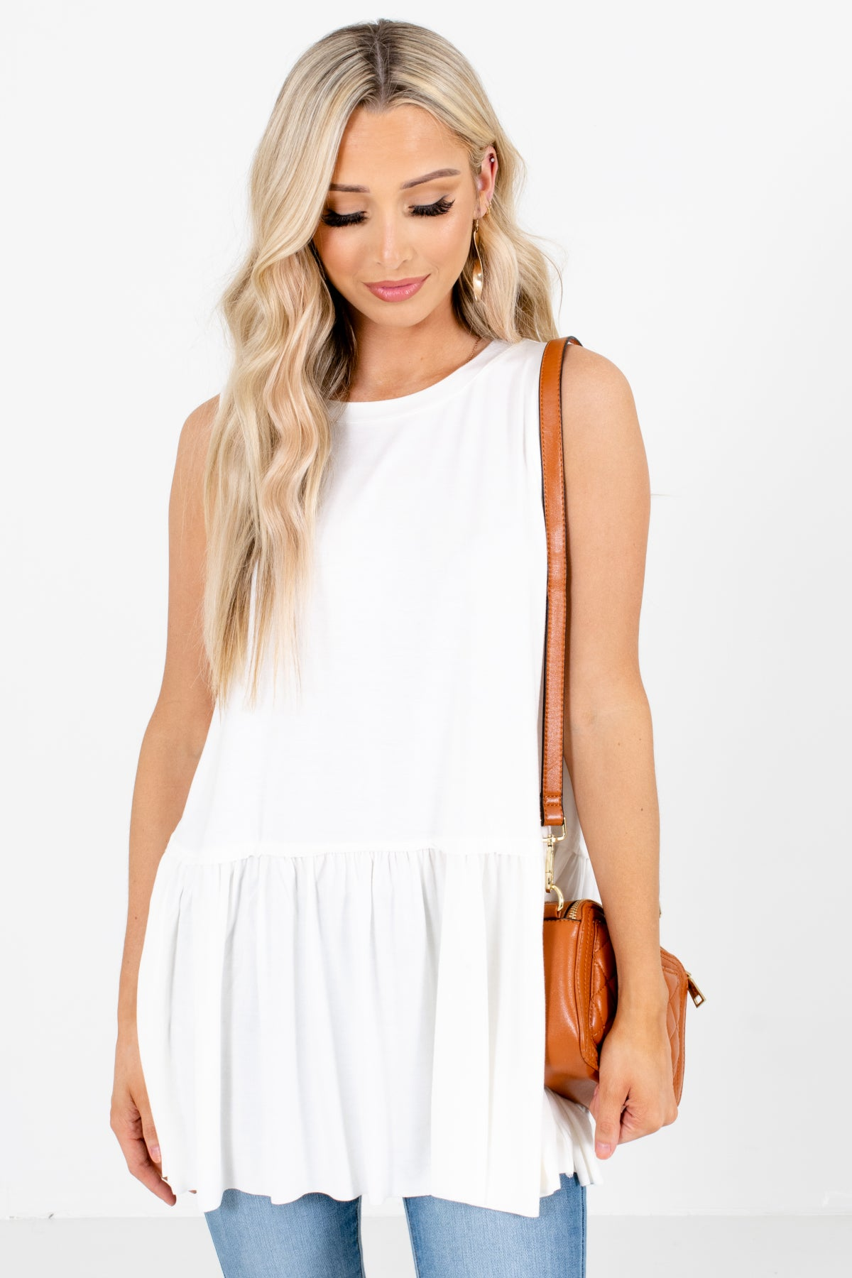 White Peplum Style Boutique Tank Tops for Women