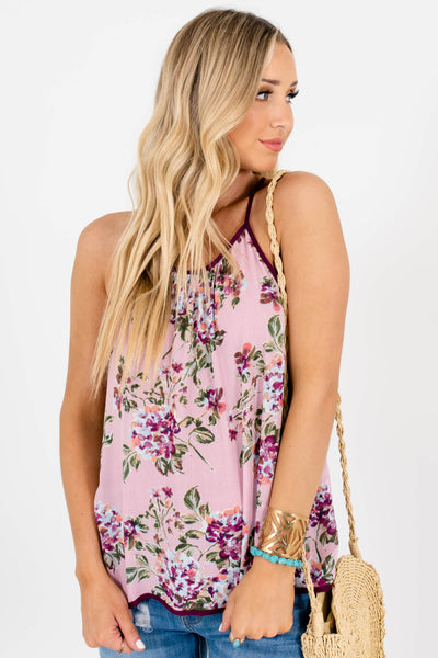 Pink Purple Blue Floral Print Boutique Tank Tops for Women