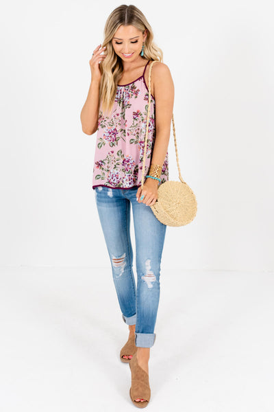Pink Purple Floral Print Cutout Halter Tank Tops for Women