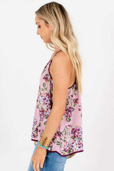 Pink Purple Blue Floral Print Boutique Halter Tank Tops