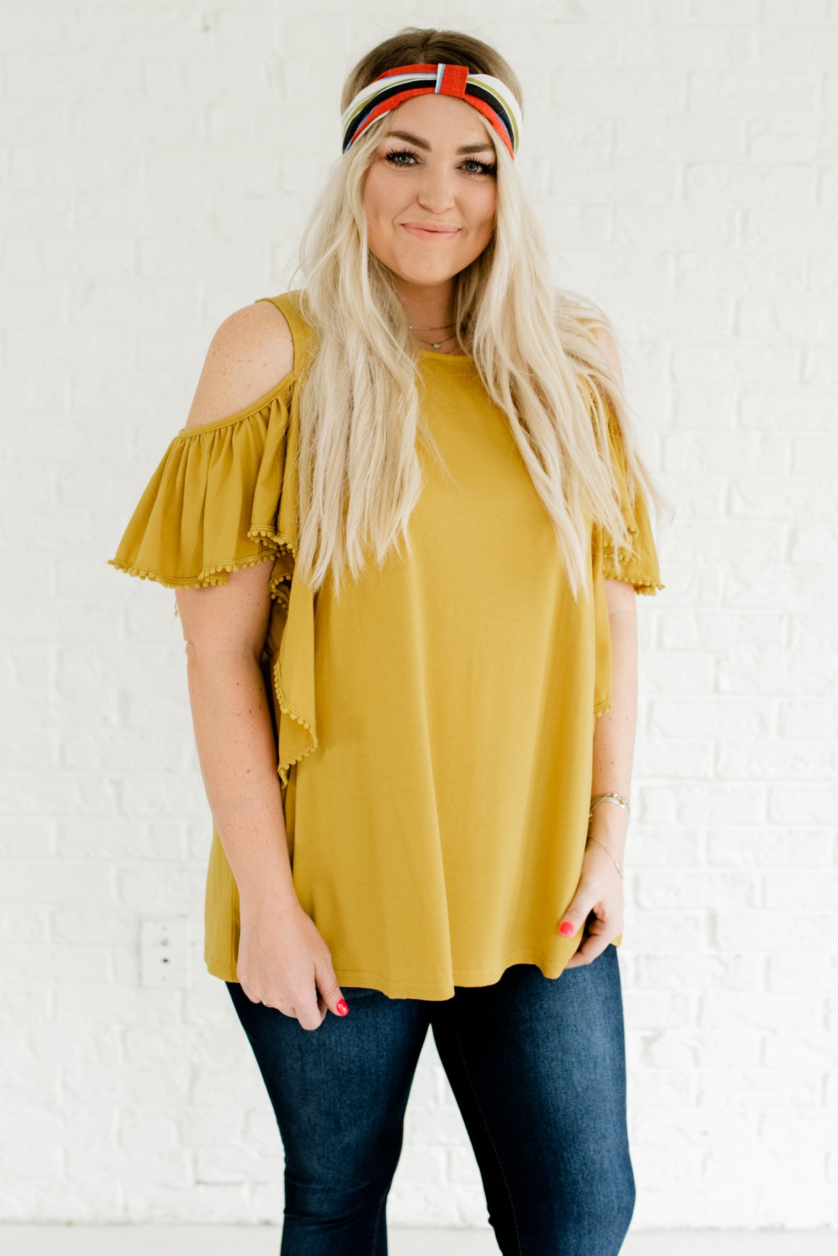 59583c711 Mustard Yellow Cold Shoulder Style Plus Size Boutique Tops for Women
