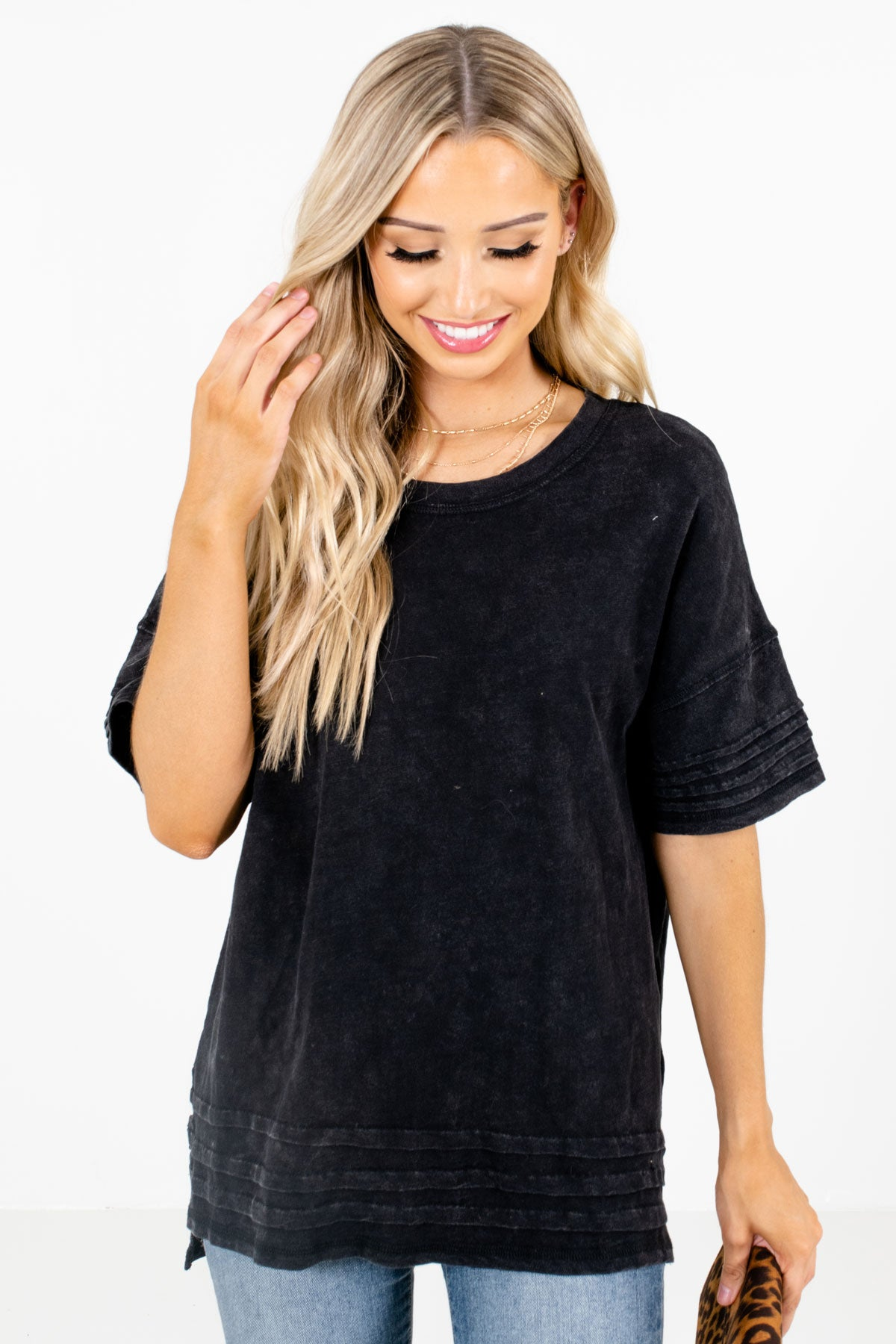 Black Pleated Detailed Boutique Tops for Women