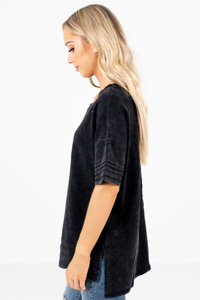 Black Relaxed Fit Boutique Tops for Women