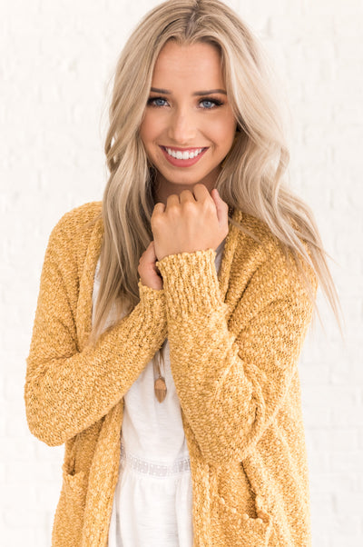 Mustard Yellow Soft Knit Fall Clothing for Women