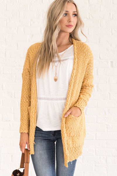 Mustard Yellow Boucle Knit Cardigan Sweater Cozy Warm Winter Fashion