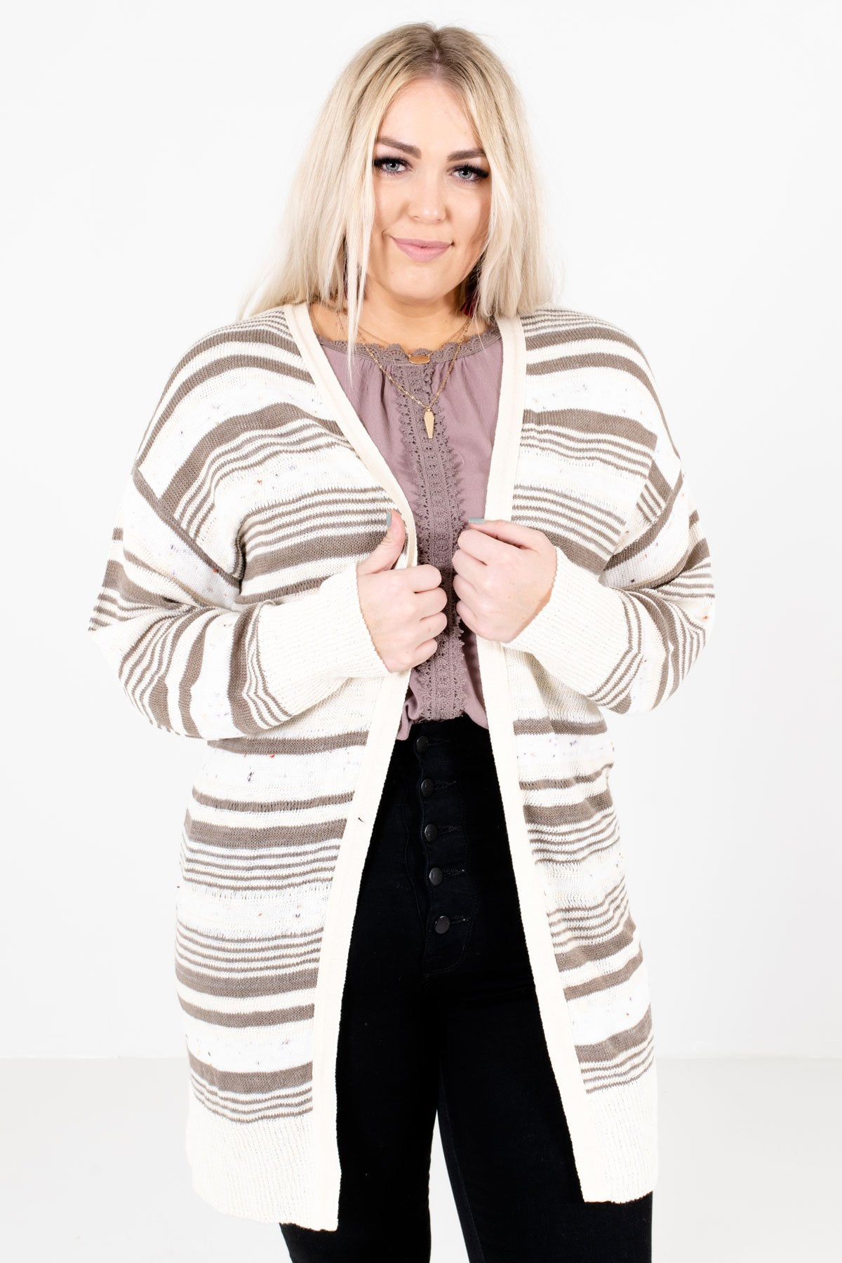 Cream Multicolored Striped Pattern Boutique Cardigans for Women