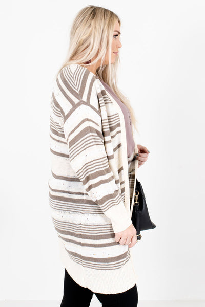 Cream Long Length Boutique Cardigans for Women