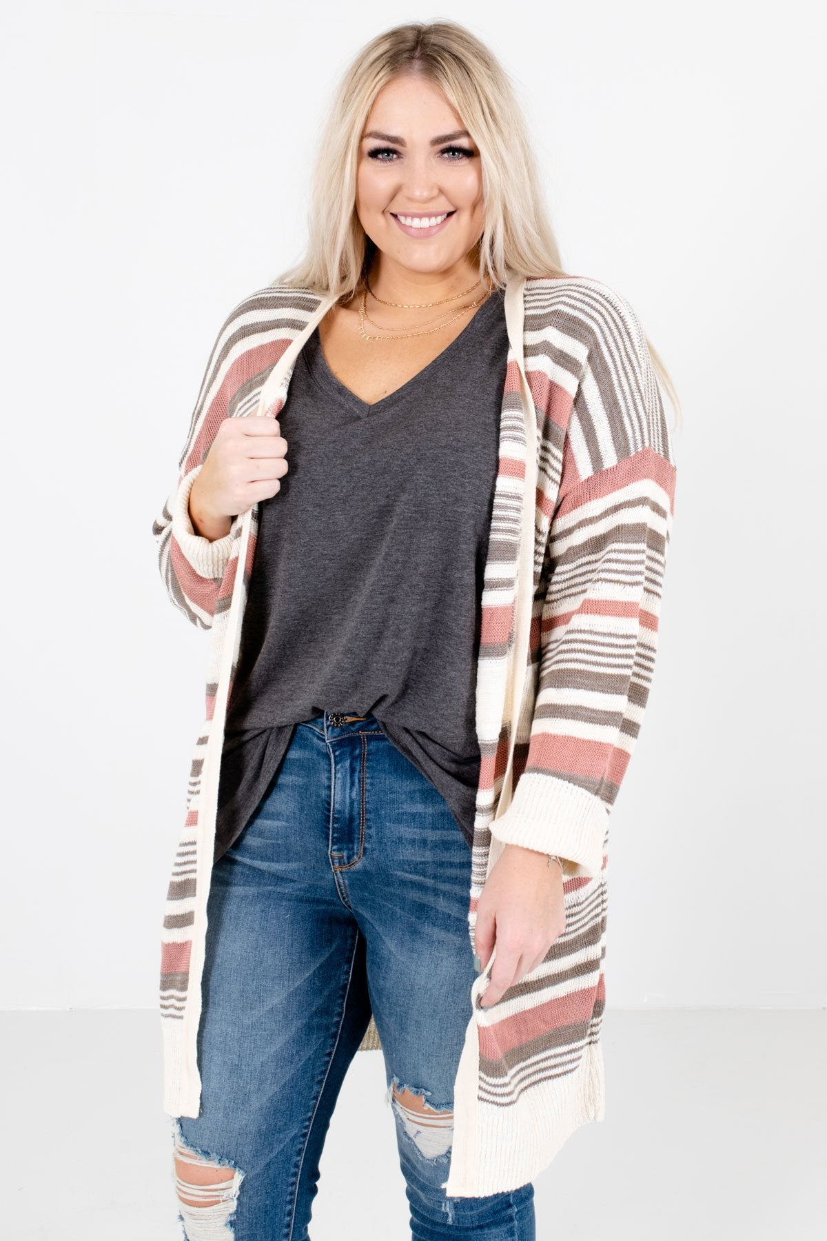 Mauve Multicolored Striped Pattern Boutique Cardigans for Women