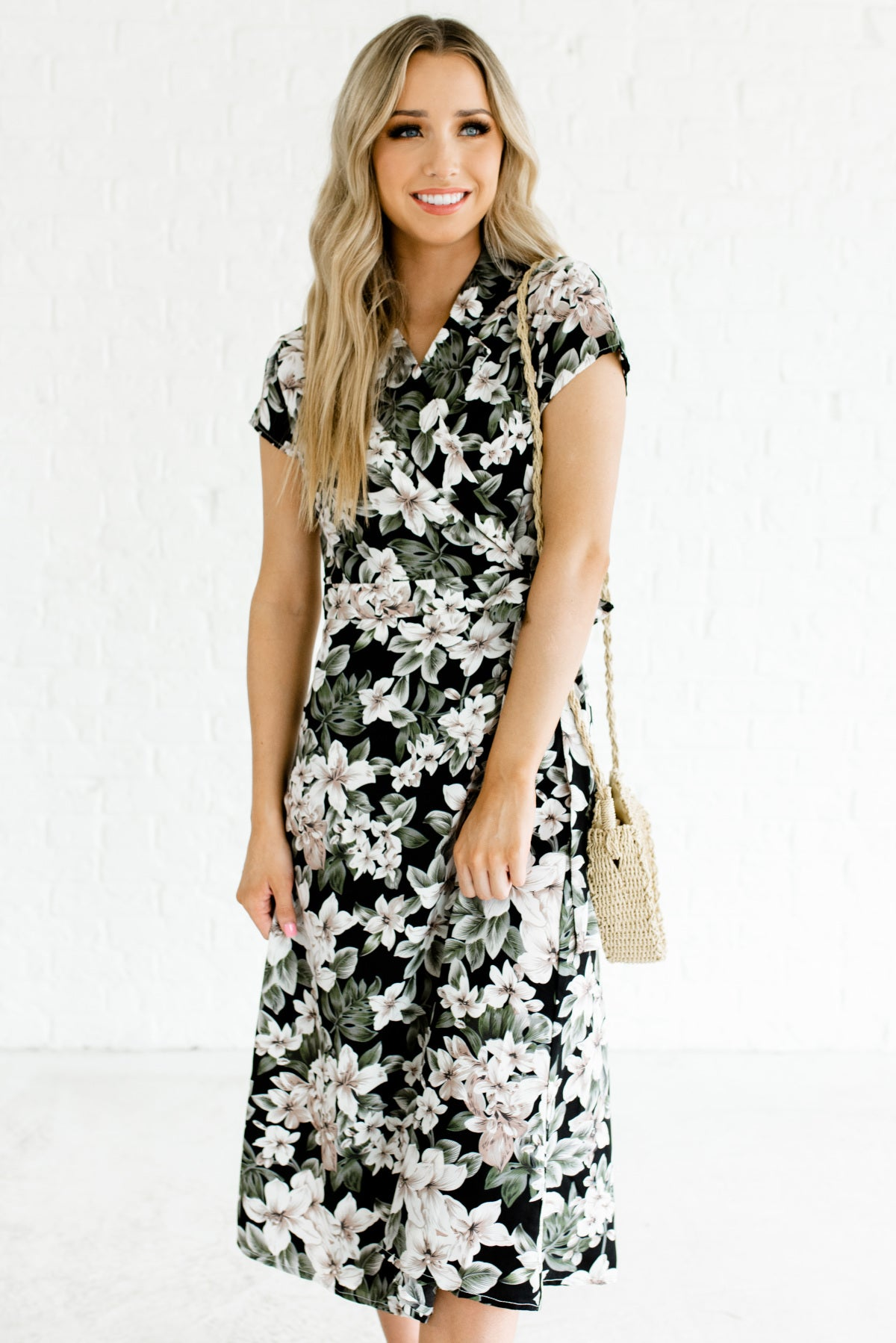 Black Multicolored Floral Patterned Boutique Midi Dresses for Women