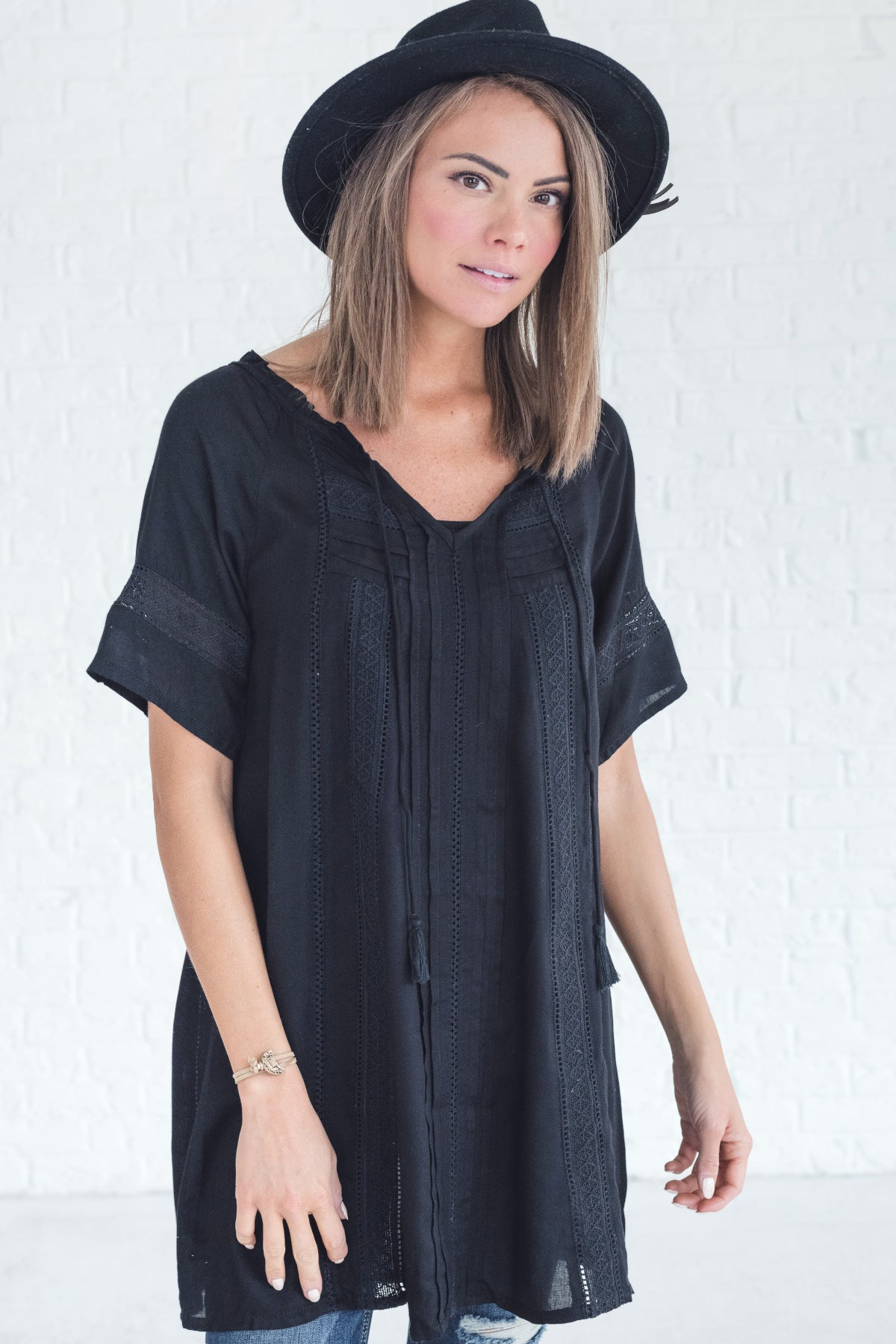 Boutique Tunic with Tassel Ties