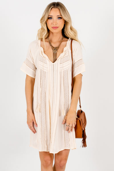 Cream Crochet Lace Accented Boutique Tunics for Women