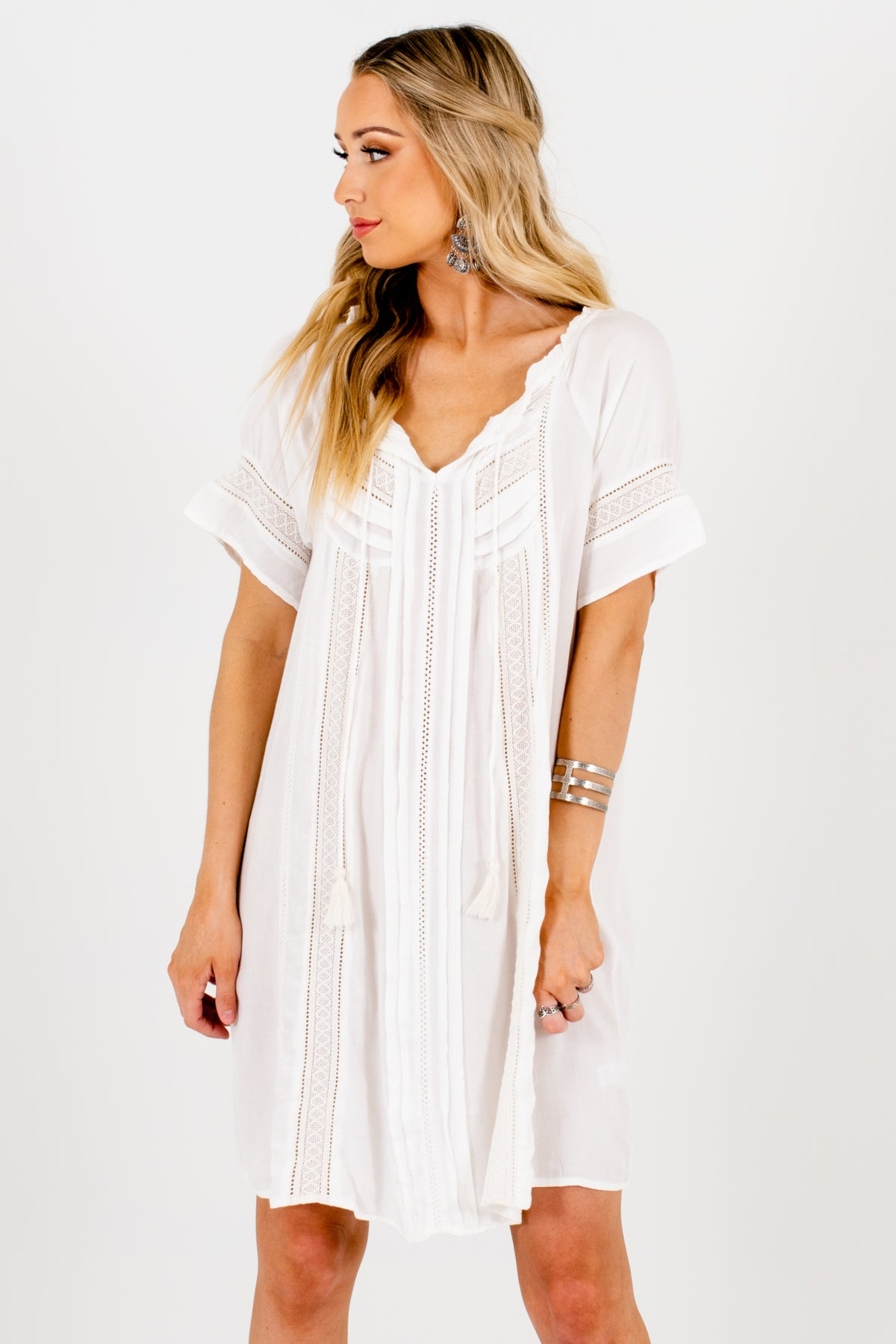 White Crochet Lace Accented Boutique Tunics for Women