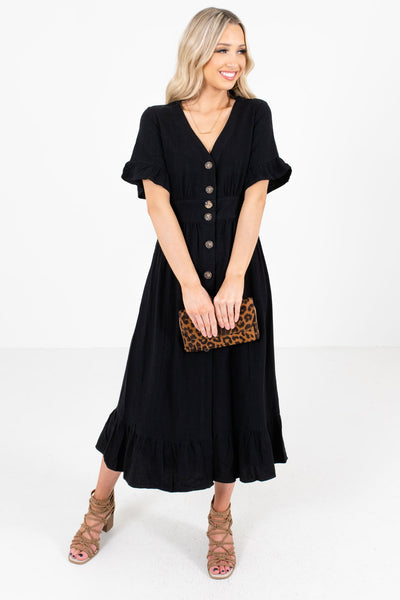 Black Button-Up Front Boutique Midi Dresses for Women