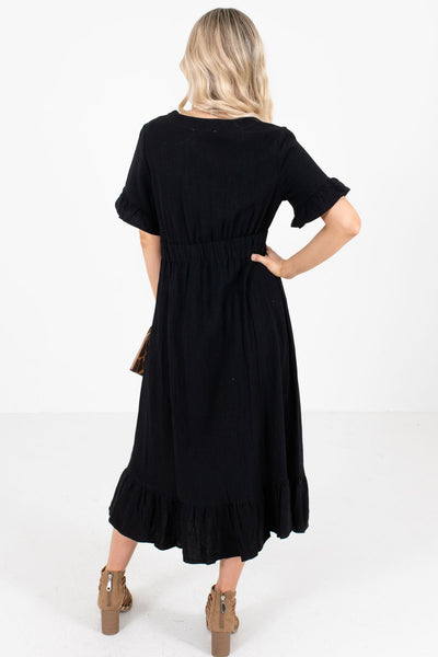 Women's Black V-Neckline Boutique Midi Dress