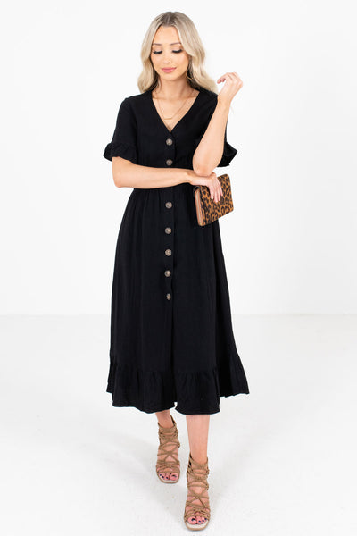 Black High-Quality Material Boutique Midi Dresses for Women
