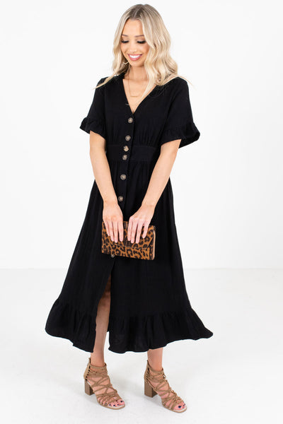Women's Ruffled Sleeve and Hem Boutique Midi Dress
