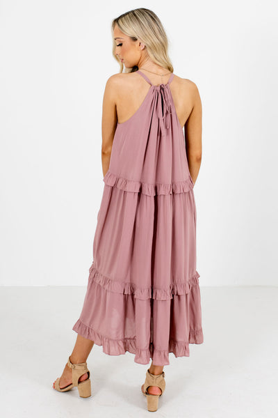 Women's Mauve Halter Style Neckline Boutique Midi Dress