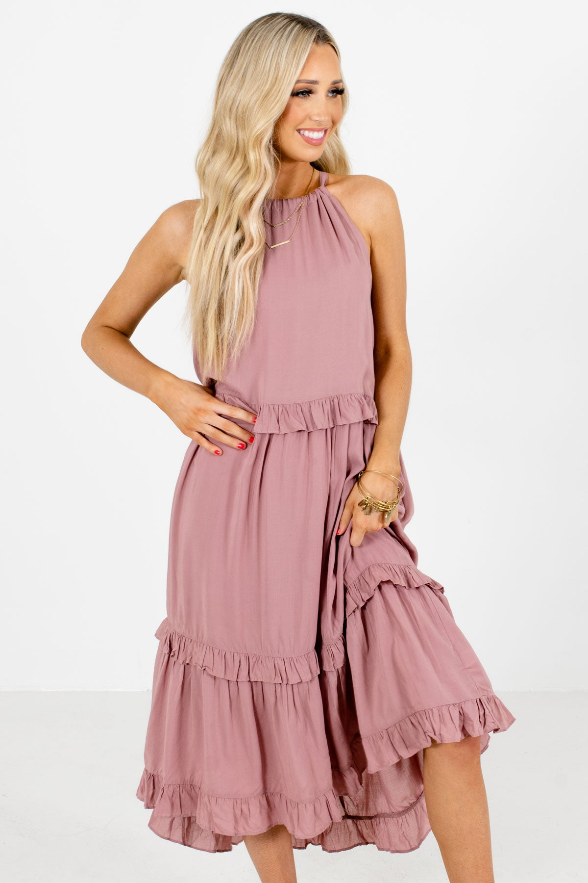 Mauve Ruffle Accented Boutique Midi Dresses for Women