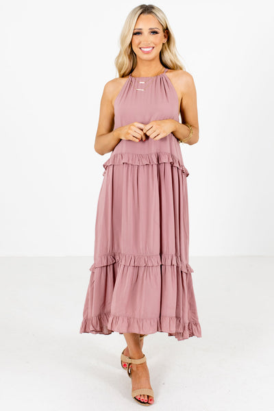 Women's Mauve Pleated Accented Boutique Midi Dress