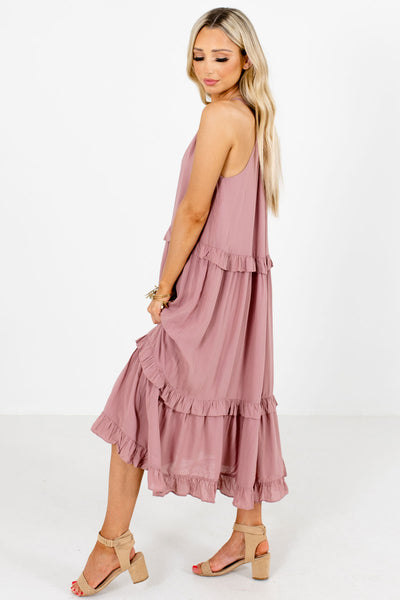 Mauve Partially Lined Boutique Midi Dresses for Women